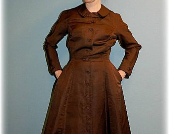 1950's vintage dress in chocolate brown taffeta