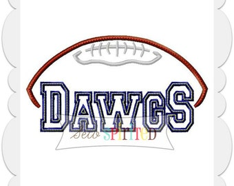 Dawgs Football Applique Embroidery Design