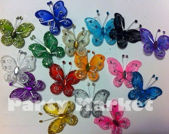 """40 PCS 2"""" - Organza Tulle Nylon Butterflies Design Craft Wedding Party Floral Craft Arts DIY Table Scatter Favor Decoration"""