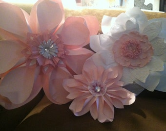 Paper Flower Trio -  For Nursery or Baby's Room - Pink and White with Gemstones and Lace