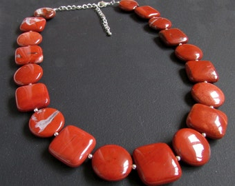 Red Jasper Discs and Squares Necklace
