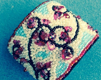 "Beads embrodery bracelet ""Cherry flowers"""