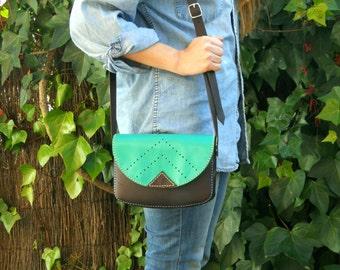 TURQUOISE LEATHER PURSE / Leather bag / pouch / corssbody bag / satchel / saddle bag