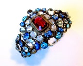 Glamorous Red, White and Blue Hobe Bracelet with Rhinestones and Cabochons