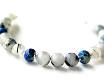 black white bracelet, white bracelet, black bracelet, blue bracelet, rutilated quartz, blue white bracelet, torc bracelet