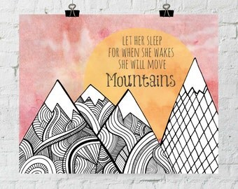 Nursery Wall Art, Mountain Print, Mountain Art, Mountain Quotes, Girls Room Decor, Printable Art, Let Her Sleep, Quote Posters, Wall Art
