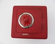 vintage Superior Toy & Mfg. Co red metal bank safe with combination