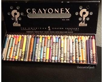 30 Vintage Prang Crayons / Crayonex No.326 / Rayonex / The  American Crayon Co. / 1950s