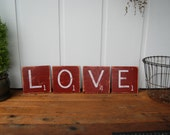 "RED LOVE Sign - Scrabble Tiles - 8x8"" wooden hand painted -Valentine's Day Decor or Gift"