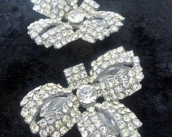 Glittzy vintage 40's Art Moderne Late  Deco clear rhinestone sew-on belt buckle