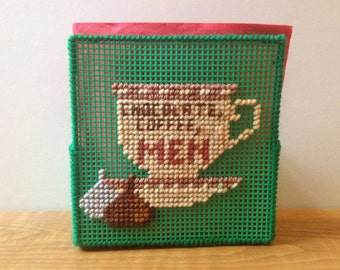 Plastic Canvas Napkin Holder- Some things are better RICH!