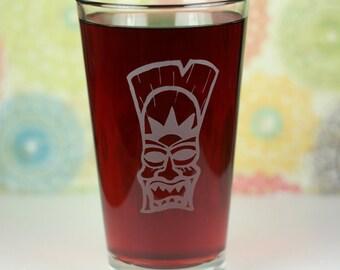 Angry Tiki sun god Etched Sandblasted Pint Glass, tiki gift, holiday gift, gift under 20