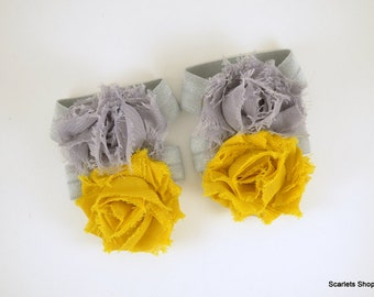 Mustard Yellow and Grey Barefoot Baby Sandal - Shoe Clips - Baby Sandals - Baby Shoes - Infant Sandals