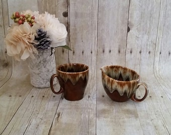 Glazed Glass Cup and Creamer set