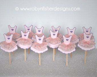 Beautiful Ballerina Tutu Cupcake Toppers - Ballerina Birthday