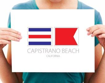 Capistrano Beach - California - Nautical Flag Art Print