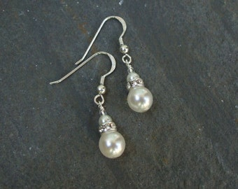 Pearl drop Bridal earrings Sterling Silver double pearl drop & rhinestone wedding earrings vintage classic bridal jewellery wedding jewelry
