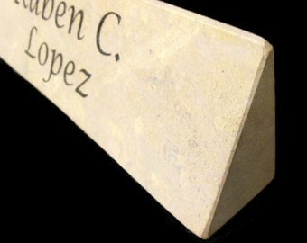 Desk Nameplate Engraved Front and Back Natural Stone