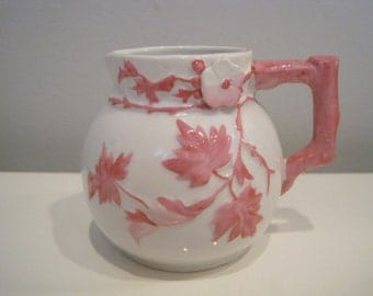 Vintage Pink And White Floral Petite Pitcher