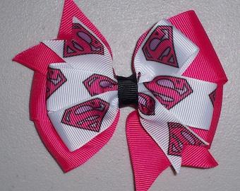 Superman Pink Superhero Bow