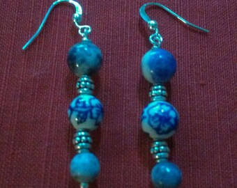 silver springs: stone bead earrings featuring sodalite, porcelain, and silverplate beads