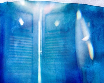 Window - blue. Processing photograph of watercolor and light. Photographic Print.