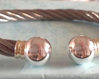 Steel bracelet, sterling silver bracelet, handmade bracelet, vintage bracelet, for her, for him