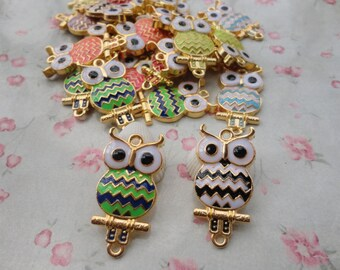 mixed color , set of 20 metal owl pendant , metal owl charm , 34x16mm , gold basic , MPC3389-20