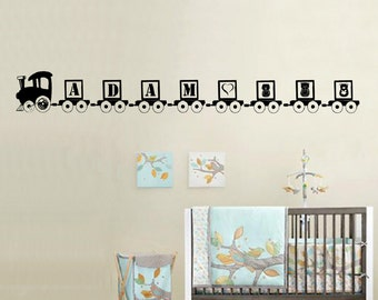 Personalized Name Train Wall Decal sticker nursery art baby kids room decor child custom  FA23