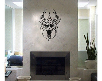 Evil Skull Devil Demon Decal sticker wall art car graphics room decor zombie emo goth gothic metal AA62