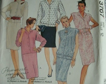 Misses Dress, Blouse and Skirt Size 12 McCalls pattern 3767 Our Favorite Versatile Dress - Focus on Serger, Petite-Able, Personalized UNCUT