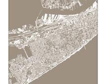 Galveston Cityscape Map Art / Texas City Art Graphic Print / 8x10 / Choose your Color