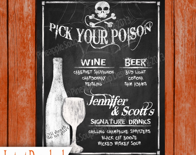 Halloween Wedding DRINK MENU Sign Printable File - Pick your poison - Wicked Collection