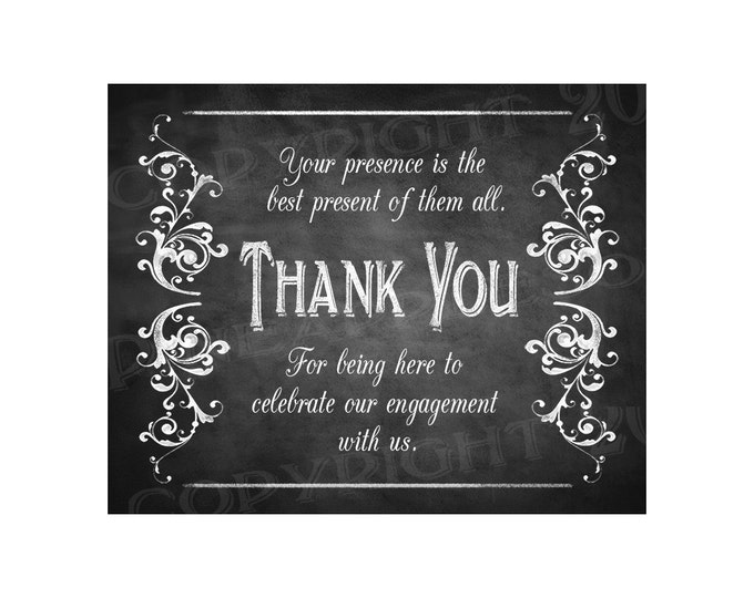 Printable Thank You for celebrating our engagement with us - instant download digital file - DIY - Victoria Chalkboard Collection
