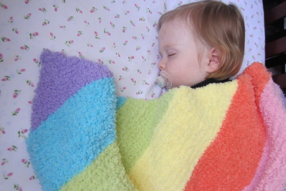 Rainbow baby blanket knit blankets soft warm amp fluffy hand knitted
