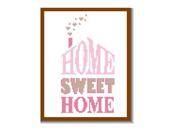 Modern Cross Stitch Pattern HOME Sweet HOME bright, warm and welcoming Pink brown shades modern wall art cushions Gift