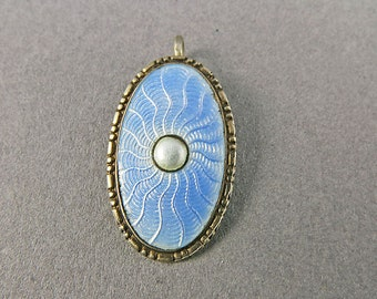 Vintage Blue Enamel Pendant On Sterling Silver 1950s Jewelry Vintage Jewelry
