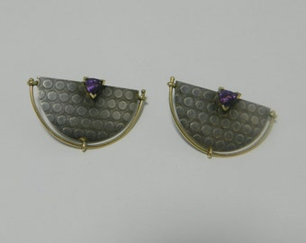 14K Gold 925 Sterling Silver Amethyst Half Circle Stud Earrings