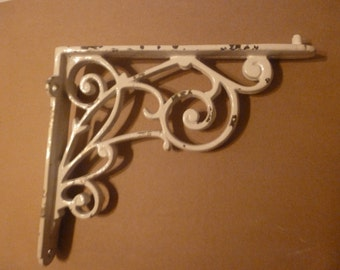Vintage White Wrought Iron Decoration/Cottage Chic/ Shabby Chic/Rustic/Bookend (item #14060)