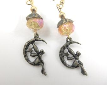 Golden moon fairy earrings