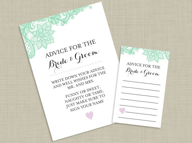 Lace Bride & Groom Advice Cards And Sign Printable Custom