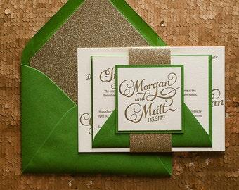 Emerald & Gold Letterpress Glitter Wedding Invitation, Gold Glitter Wedding Invite, Calligraphy Invitation, Green Invitation - Sample Set