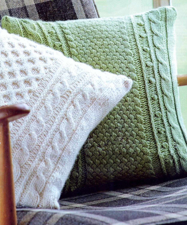 Aran10 ply Fishermans Knit Cushions 14x14 ins 2 styles