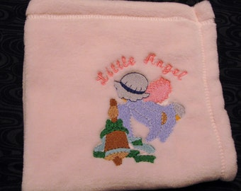 """Embroidered Pink Minky Baby Buggy Blanket or Burp Cloth - 15"""" square"""