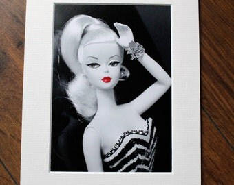 Silkstone Barbie Art Print/  Retro Doll Girls Room Decor/ Photo print 5x7 with mount