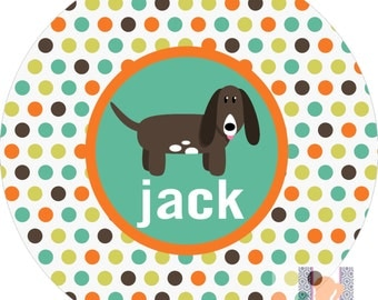 Personalized polka dot dog monogrammed  plate! A custom, fun and UNIQUE gift idea! Kids love eating on plates with their names on them
