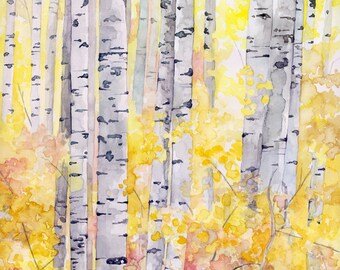 """Birch Trees Painting - Print from my Original Watercolor Painting,""""The Golden Wood"""", Autumn Decor, Fall Decor, Fall, Birch Tree, Fall Leaves"""