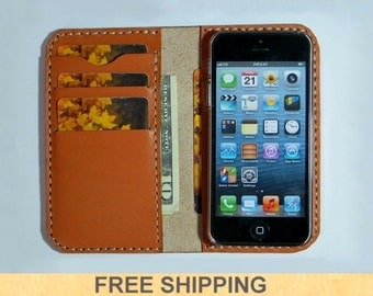 Personalized iPhone Leather Wallet Case , iPhone Case , iPhone Leather Case  - Handmade - Free Monogramming and FREE SHIPPING