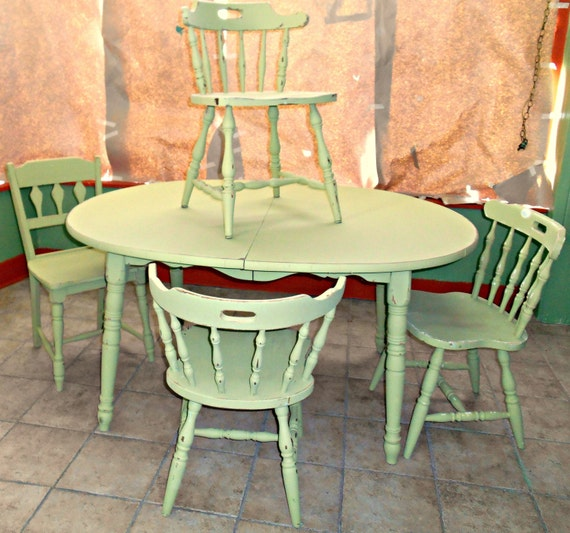vintage olive green shabby chic dining table by honeysucklepainted. Black Bedroom Furniture Sets. Home Design Ideas