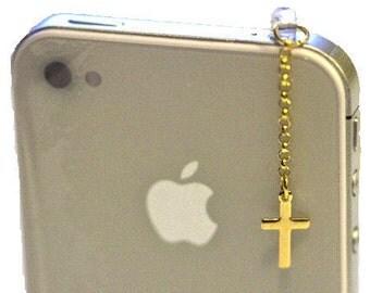 Elegant GOLD CROSS Iphone Earphone Plug/Dust Plug - Cellphone Headphone Handmade Decorations